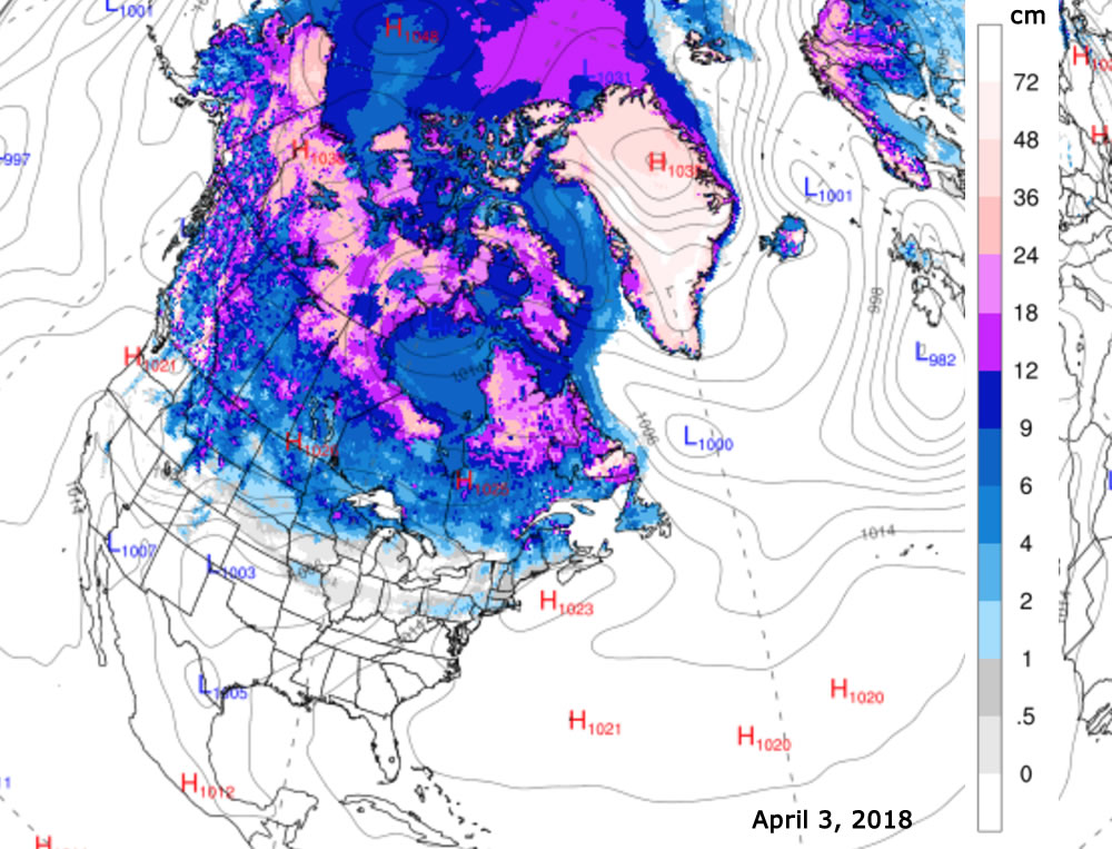 Snow Depth Map 04/04/18 snow depth Snow Depth Map