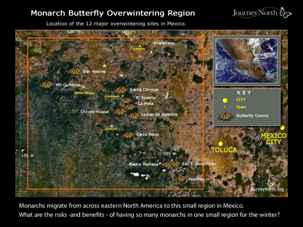 Map of Monarch Butterfly Winter Sanctuaries