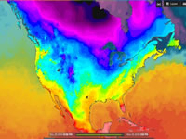 Temperature map of North America