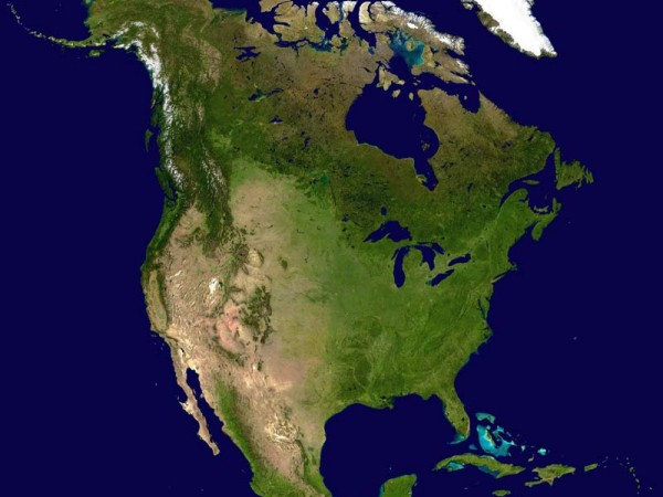 Satellite Image of North American Content - No Political Boundaries